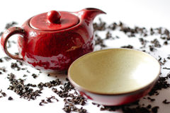 Red china teapot Stock Image