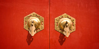 Red chinese antique door Royalty Free Stock Photography
