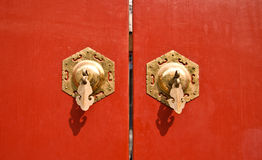 Red chinese antique door Royalty Free Stock Photo