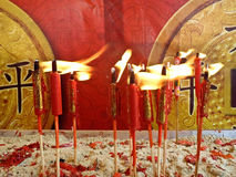 Red chinese candles in temple Royalty Free Stock Images