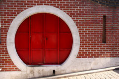 Red chinese circle door Stock Images