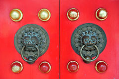 Red Chinese Door in Hong Kong Royalty Free Stock Photos