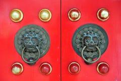 Red Chinese Door in Hong Kong Royalty Free Stock Photos