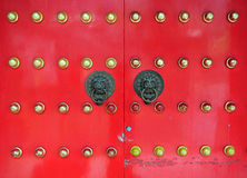 Red Chinese Door in Hong Kong Stock Image