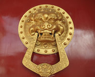 Red Chinese Door Knocker Royalty Free Stock Photography