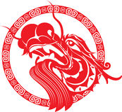 Red Chinese Dragon Head art Stock Photography