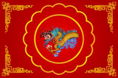 Red chinese dragon on red background Royalty Free Stock Photo