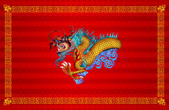 Red chinese dragon on red background Royalty Free Stock Images