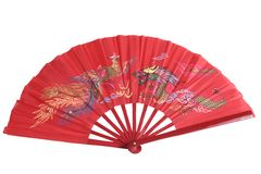 Red Chinese Fan. A red Chinese fan with a traditional dragon design, isolated on a white background Stock Photo