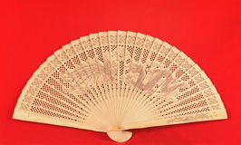 Red Chinese Fan Stock Photography