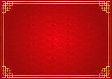 Red chinese fan abstract background with golden border. Chinese new year background with golden border abstract oriental wallpaper with decoration frame red Royalty Free Stock Photo
