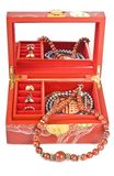 Red Chinese Jewelry Box with Rings and Necklaces Stock Photo