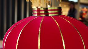 Red Chinese lamp hanging shopping mall stock video footage