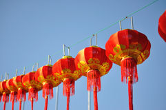 Red Chinese lantern against blue sky Royalty Free Stock Photography