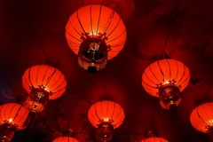 Red Chinese Lantern Arranged in Triangle Shape Royalty Free Stock Photography
