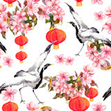 Red chinese lantern in spring pink flowers - apple, plum, cherry, sakura and dancing crane birds. Seamless pattern. Red chinese lantern in spring pink flowers stock illustration