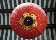 Red Chinese lantern, view from below royalty free stock photo