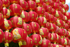 Red chinese lantern wall Royalty Free Stock Photo