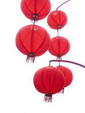 Red chinese lanterns. Red chinese lanterns isolated on a white background Stock Photography