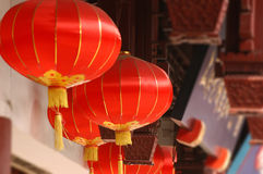 Red Chinese Lanterns. Hang in the breeze along the streets of Zhouzhaung, China. the Venice of the Orient stock photo