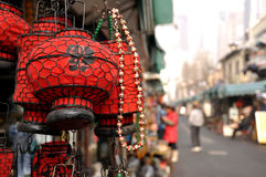 Red chinese lanterns at the antique market Royalty Free Stock Photography