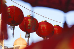 Red Chinese lanterns in China town. Stock Photos