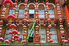 Red Chinese lanterns. In Chinatown of San Francisco, California, USA stock photos
