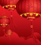 RED Chinese lanterns decorations Stock Photos