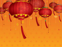 RED Chinese lanterns decorations Royalty Free Stock Image