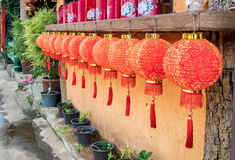 Red chinese lanterns hanging decoration Royalty Free Stock Photography