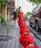 Red Chinese lanterns hanging in a street royalty free stock images