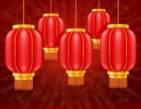 Red chinese lanterns for holiday and festival decoration for design stock vector illustration. On background stock illustration