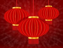 Red chinese lanterns for holiday and festival decoration for design stock vector illustration. On background royalty free illustration