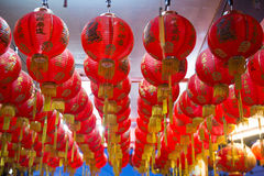 Red chinese lanterns in a shrine Royalty Free Stock Photo