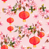Red chinese lanterns, spring blossom flowers. Seamless pattern. Watercolor Royalty Free Stock Photo