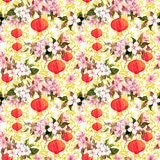 Red chinese lanterns in spring blossom - sakura flowers . Repeating pattern with golden asian ornament at background. Red chinese lanterns in spring blossom royalty free stock image