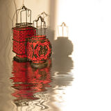Red chinese lanterns, water reflections. Red chinese lanterns, with water reflections stock photos