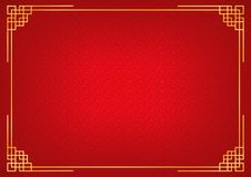Red chinese little fan abstract background with golden border. Chinese new year background with golden border, abstract oriental wallpaper with decoration frame Royalty Free Stock Image