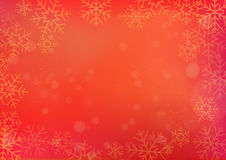 Red Chinese New Year and Christmas background with snowflake. Red Chinese New Year and Christmas winter background with the snowflake border Stock Photo