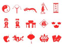 Red chinese new year icons set. Isolated red chinese new year icons set on white background Royalty Free Stock Images