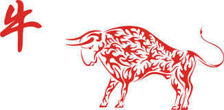 Red Chinese ox with hieroglyph. Symbol of 2009 year stock illustration