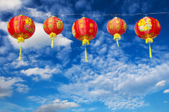 Red Chinese Paper Lanterns against Royalty Free Stock Photo