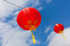Red Chinese Paper Lanterns against a Blue Sky Royalty Free Stock Photos