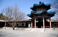Red chinese pavilion with blue ornate roof Stock Images