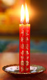 Red chinese prayer candles Royalty Free Stock Images