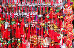 Red chinese tassels at chinatown Royalty Free Stock Photo