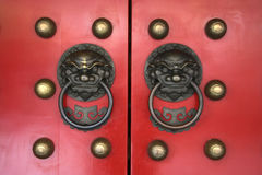 Red chinese Temple door Stock Photos