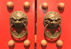 Red chinese Temple door Royalty Free Stock Image