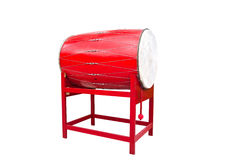 Red Chinese temple drum with clipping pat Royalty Free Stock Photo