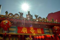 Red chinese temple pavillion in kaula lumpur, malaysia Stock Photo